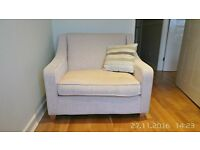 Rachel line DFS Cuddler Chair Single Sofa Bed in cream with matching pillow RRP £429