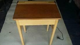 Vintage retro wooden school desk