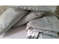 CURTAINS WITH TIE BACKS + CUSHIONS