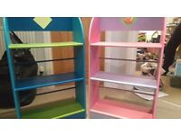 Boys and girls bookcases.