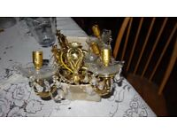 Antique Brass Wall Light with transparent Crystal droplet : A set of 4 lights one Double and 2