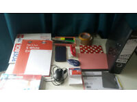 Office stationary, incl. calculator, folder (hard case), punch, etc.