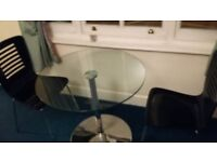 Kansas Round Glass Kitchen Table and 2 Black Dining Chairs