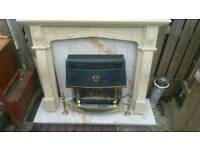 Gas Fireplace and marble surround