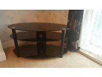 """TV Black Glass Stand Very Good Condition up to 60""""INCH tv's £20"""