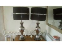 Pair of Large Chrome Table Lamps