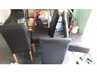 FREE 4 faux leather brown dining chairs FREE