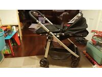 Uppababy Cruz pram black with red footmuff. great condition pet and smoke free home with maxi cosi