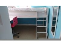 Kids single, white, wooden midi bed with pull out desk and chair