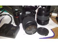 Nikon D40 with 18-55 lens and 55-200 telephoto lense + skylight filter