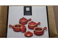 4 Covered Soup Pots-Traditional Glazed Stoneware