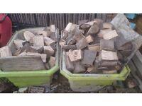 Seasoned, dry, chopped logs.