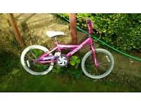 "Girls 18""bike with helmet for 6-9yrs child"