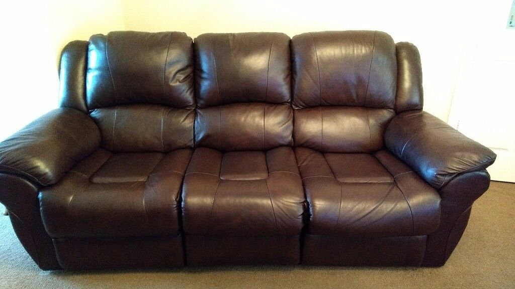 3 seater, brown leather double recliner sofa for sale