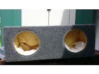 Sub Woofer Box enclosure with recessed amplifier area - unloaded
