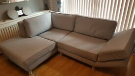 Corner Sofa and Chaise Lounge Duck Egg