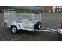 HEAVY DUTY galvanised car trailer with removable meshsides and ramp leds spare jockey lock prop