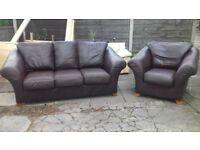 3/1real leather sofa