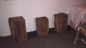 3 carved wooden display plynths / stools