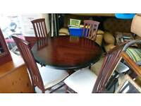Extendable Mahogany table and four chairs