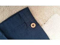 Ladies navy blue linen capri summer pants size 12-14 RRP £24.99