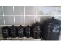 Ceramic coffee, tea, sugar, biscuit jars and bread bin