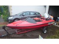 60HP Outboard Small red Speed boat Project