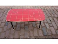 VINTAGE 1960S ORANGE / RED GEOMETRIC FUNKY COFFEE TABLE ALL ORIG DANSETTE LEGS RETRO HOME FAB DECOR