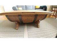 WHISKY BARREL COFFEE TABLE FOR LOUNGE