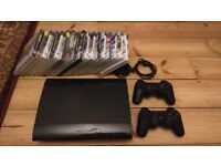 PS3 Super Slim with 2 Controllers and 16 Games