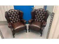 Stunning pair of leather chesterfield Wing back chairs £795