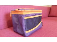 Used, good condition Sistema collapsible lunch cool bag in purple and orange