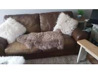 John Lewis leather 2 seater sofa