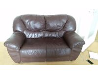 Free brown leather sofas one double one triple