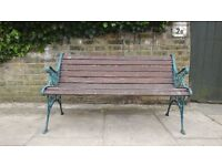 CHARMING VICTORIAN ORNATE WROUGHT IRON AND WOOD 2 SEATER GARDEN BENCH NEEDS A SLAT ADDING...KILBURN