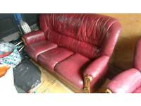 Leather 3 seater sofa and 2 armchairs FREE DELIVERY
