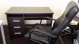 Black wooden desk with drawers and leather chair Ikea QUICK SALE ONLY £45!!!