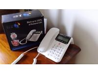 Home phone B T Decor 2600,corded phone with answer machine. Blocks nuisance calls. Unused.