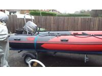 Reduced- Prowave 420(4.2m) inflatable dinghy boat boat, 25hp 4 stroke, as new trailer (swop Jetski)