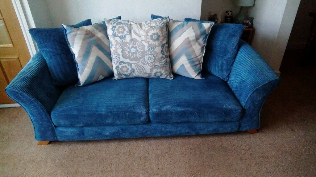 DFS 3 SEATER SOFA, CHAIR AND FOOTSTOOL