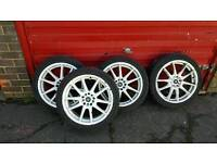 Wolf race white alloys 17inch 5stud multi