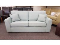 Ex Display 3 Seater Light Blue Fabric Sofa **CAN DELIVER**