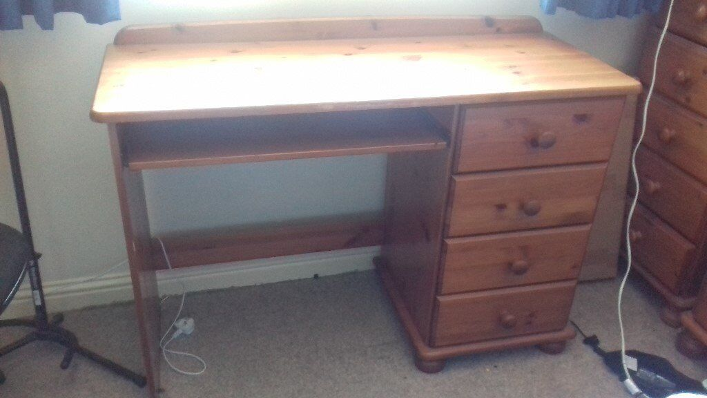 Solid Pine Desk With Side Drawers Top Marked But Otherwise Good Condition