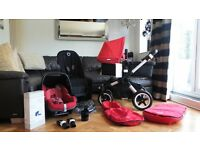 RED BUGABOO BUFFALO PRAM + MAXI COSI PEBBLE CAR SEAT & MANY EXTRAS-RRP£1260.00