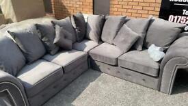 NEW Grey corner sofa lovely plush material