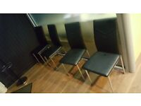 Albatros 2934 VERONA dining chairs, set of 4, black with chrome feet , SGS tested