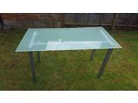 Desks. 2 Glass top metal framed 800 x 1500mm desks