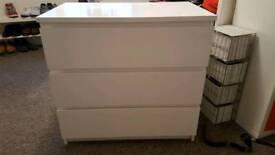 White ikea malm drawers