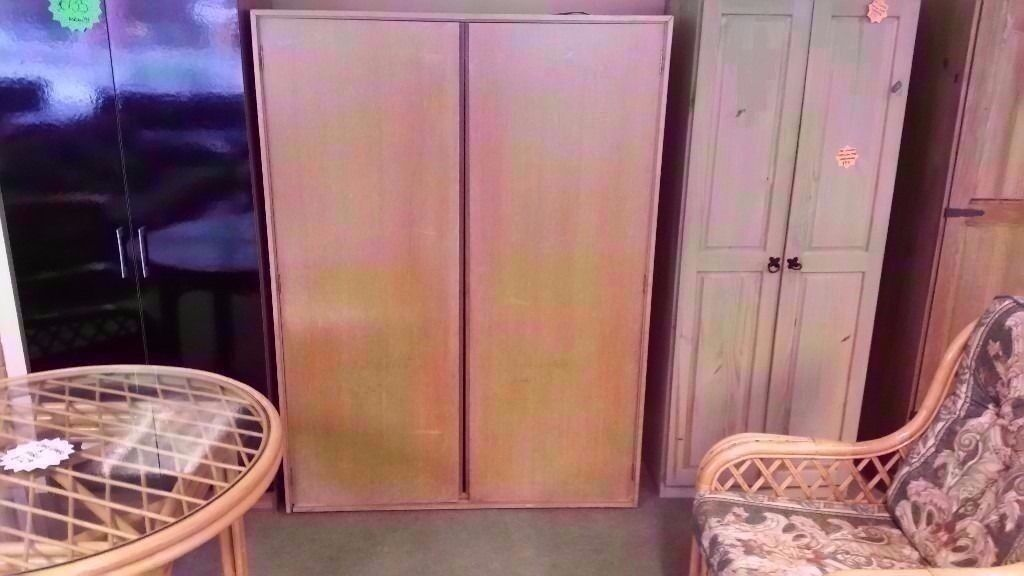 GOOD CONDITION!! 2 door STAG pine wardrobe, with built in rail storage shelf