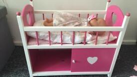 Crib with baby Born doll